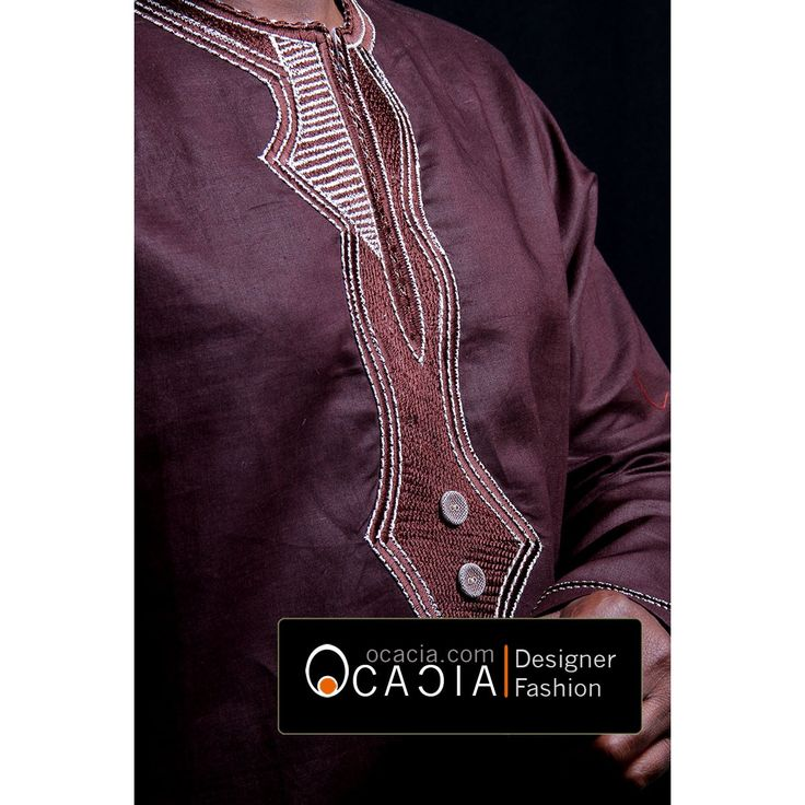 Tiamoyo Brown Linen West African embroidery top www.ocacia.com
