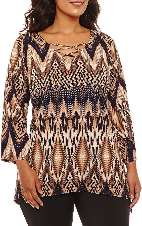 Alyx 3/4 Sleeve Round Neck Knit Chevron Blouse-Plus