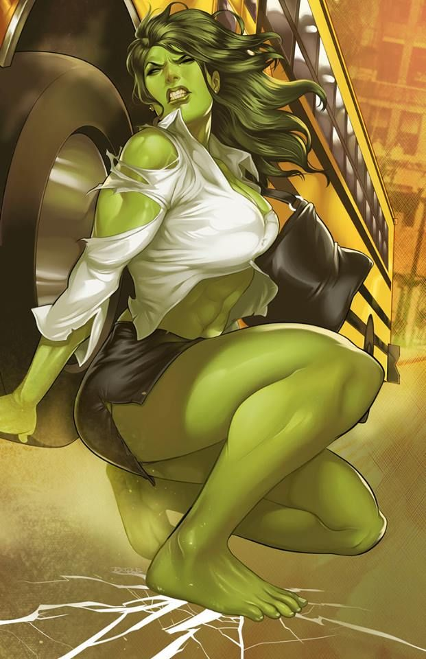 Busty She-Hulk Lifts a School Bus by Anonymous | Awesome ...