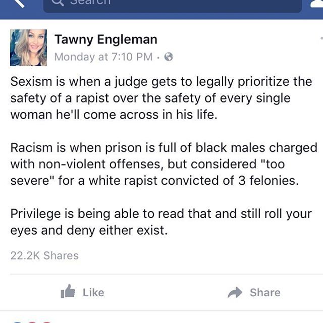 "No it's not privilege. It's innocent until proven guilty,  and not believing every ""statistic"" and claim without proof."