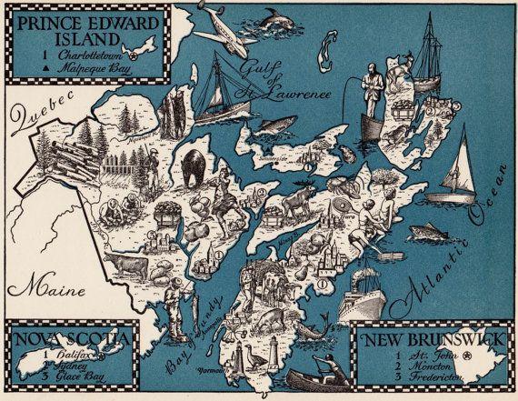 Charming CANADA Map Nova Scotia New Brunswick PEI by plaindealing