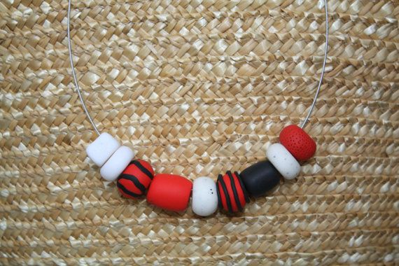Unique polymer clay beads necklace by GATO HANDMADE