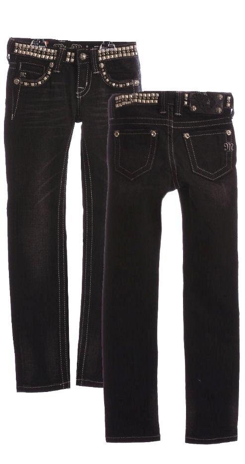 Girls Miss Me Jeans Black Studded Skinny - Tween Trendy Jeans $69.00