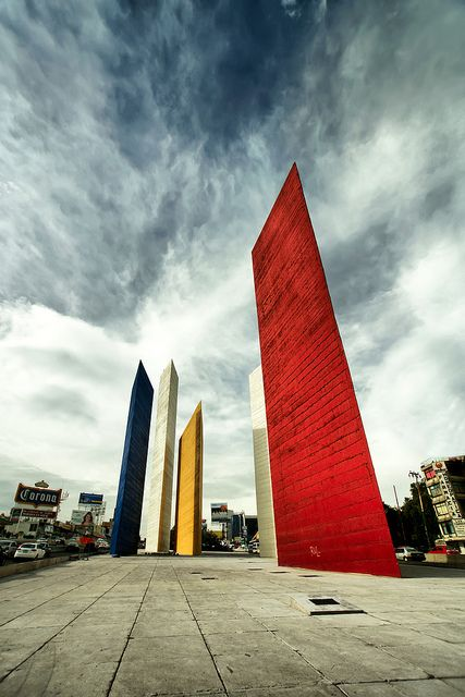 """""""Torres de Satelite"""", giant sculpture originally designed as an enormous fountain by Mathias Goeritz and Luis Barragan. Naucalpan, Mexico"""