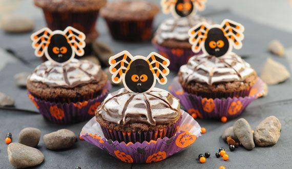 Cupcakes Telaraña de Chocolate y Marshmallows