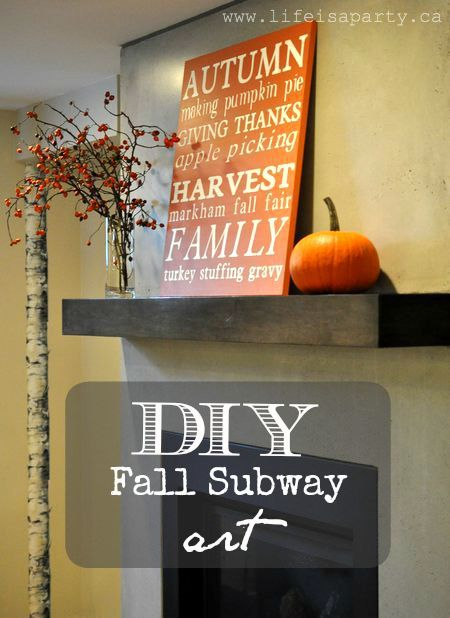 DIY Fall Subway Art -tutorial on how to make your own subway art, with custom words and phrases, any size, any colour