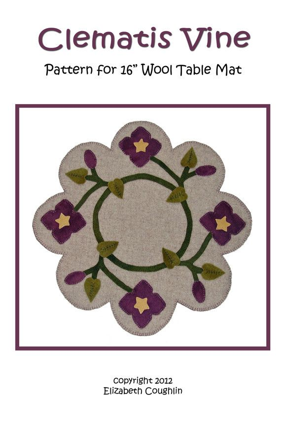 PDF pattern for a 16 inch wool table mat  by ecoughlindesigns, $5.00