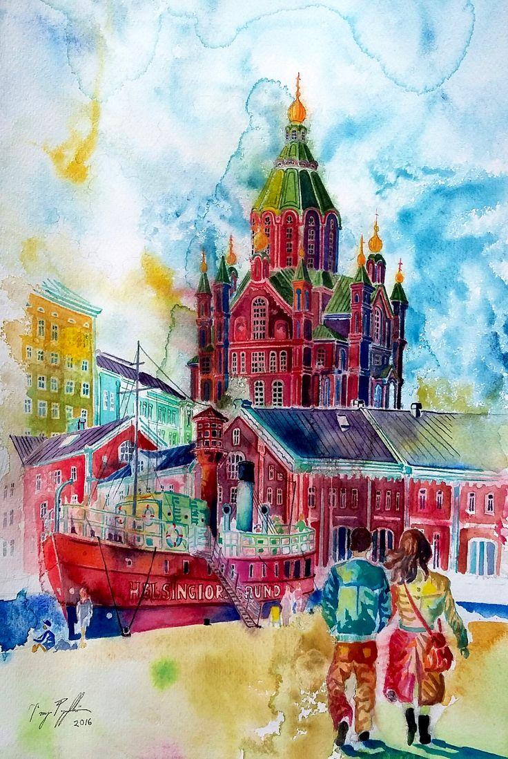 """Uspensk Cathedral in Helsinki"", watercolour on paper, 44x29cm, 2016"