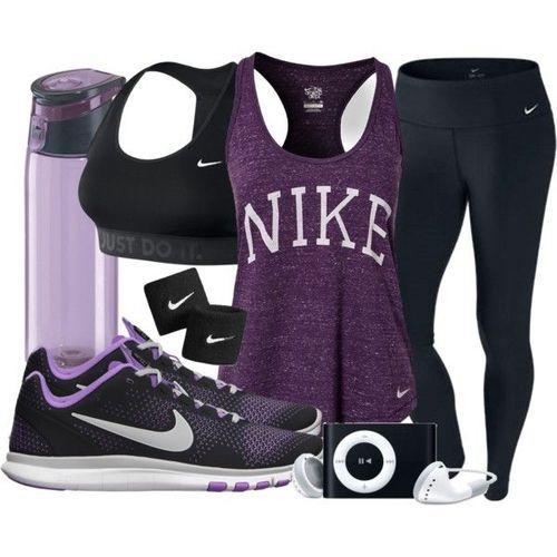 Purple  Black NIKE Fitness Gear w/ iPod and Water Bottle