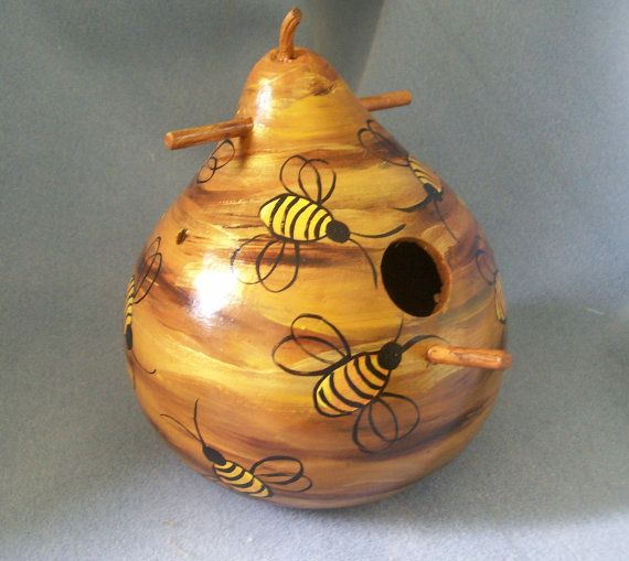 Hand Painted Bee Hive Art Gourd Bird House : decorated gourds ideas - www.pureclipart.com