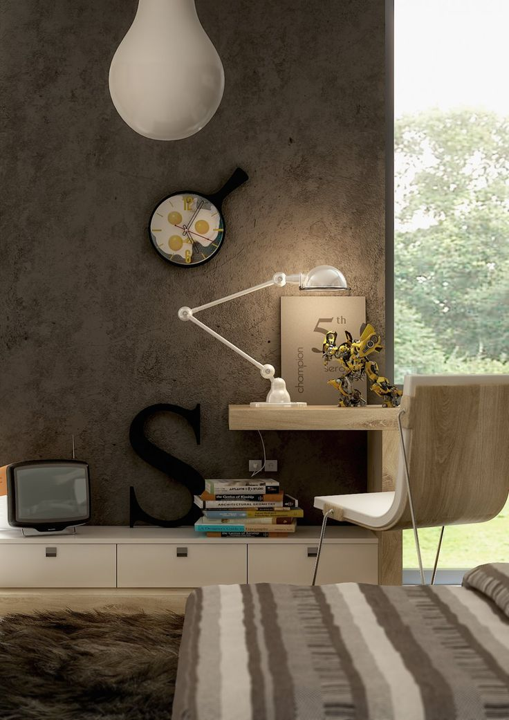 serosez study: Homes Offices, Offices Design, Creative Workspace, Boys Rooms, Grey Wall, Work Spaces, Interiors Design, Study Rooms, Modern Bedrooms