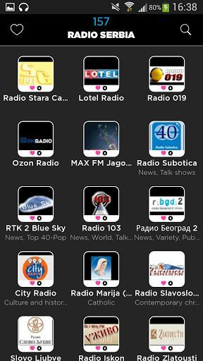 App Radio Serbia is the easiest for your phone<p>More than 100 Serbian radios available, without limits and high quality<p>Our team has sought to make the Radio Serbia simplest possible application compared to other more complex radios, while retaining the essential.<p>You can:<br>- Navigate through 100 Serbian radios available<br>- Search a Serbian radio by name<br>- Search a Serbian radio among 40 categories (News, Pop, Electro ...)<br>- Add Bookmark your favorite radio Serbian<p>The…