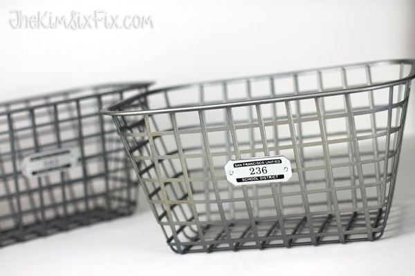 Faux Vintage Galvanized Zinc Locker Baskets and Tags