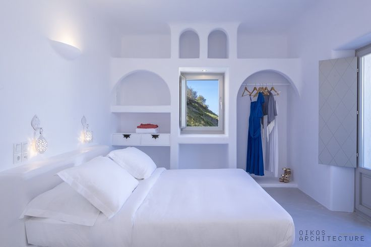 fresh, relaxing, pure white, hotel bedroom, santorini, arch, vault, traditional, minimal, island