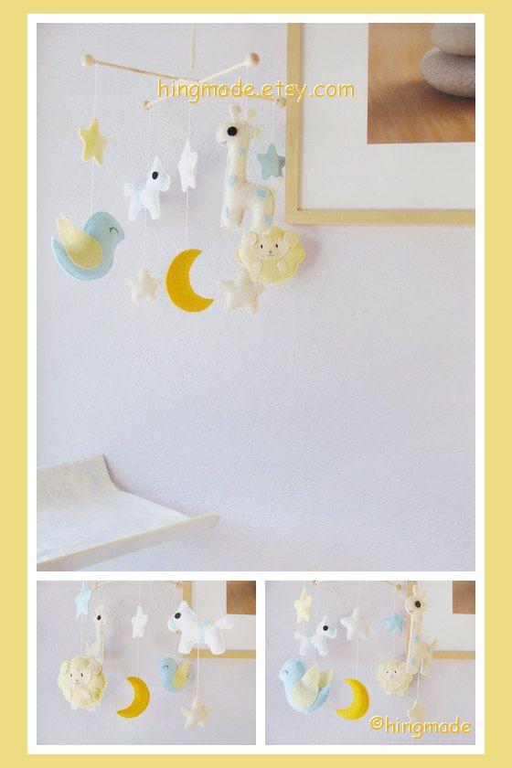 Baby Crib Mobile - Leigh Nursery Mobile - Horse Sheep Giraffe Bird Mobile - Farm Zoo theme mobile (Custom Color Available)