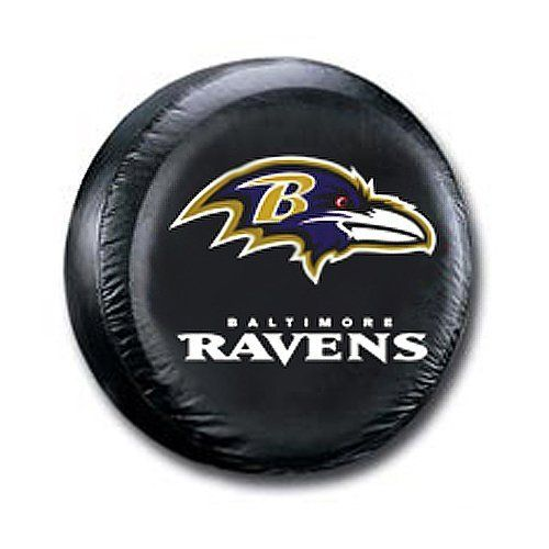 """Baltimore Ravens Large Size Black Tire Cover by Fremont Die. $42.95. Fits tires that are 30""""-32"""" in diameter. Water resistant. Wipes clean with a damp cloth. Heavy gauge vinyl. Elastic tie down. These great tire covers are made with a heavy gauge vinyl that has an elastic tie down for an easy fit. It is a universal fit tire cover that fits tires that are 30""""-32"""" in diameter, and up to 11"""" in thread width. It's also water resistant, and wipes clean with a damp cloth..."""
