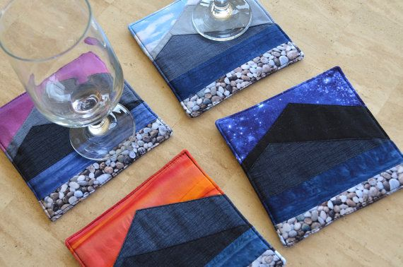 Mountain coasters fabric drink mats fabric art by RobynFayeDesigns
