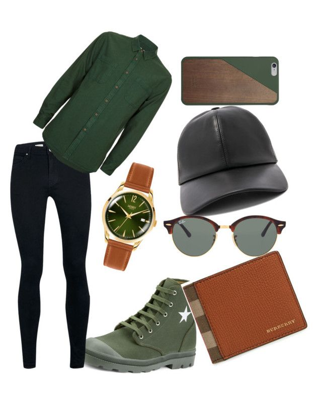 """""""Men in green"""" by milanedmonds-1 on Polyvore featuring Givenchy, Topman, Henry London, Burberry, BUSCEMI, Ray-Ban, Native Union, men's fashion and menswear"""