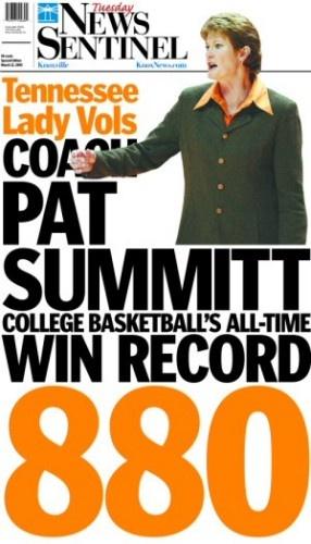 Pat Summitt 880 Wins: News Sentinel Front Page