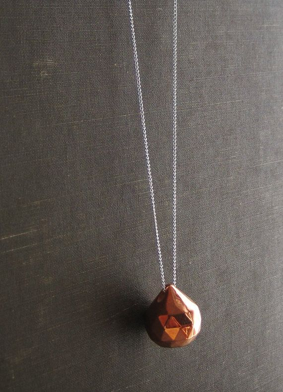 Faceted copper teardrop pendant