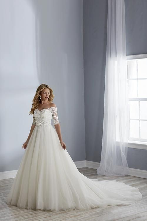 484d78300c56 Jacquelin Bridals Canada - 19110 - Wedding Gown - A-line dress with off the  shoulder 3/4 sleeves
