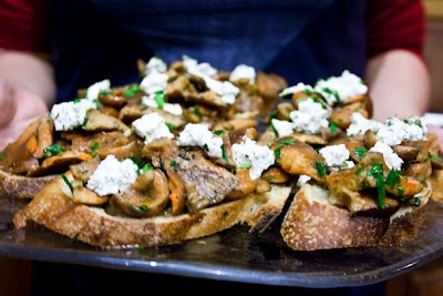 Bruschetta With Sauteed Saffron Milk Cap Mushrooms And Goat Cheese