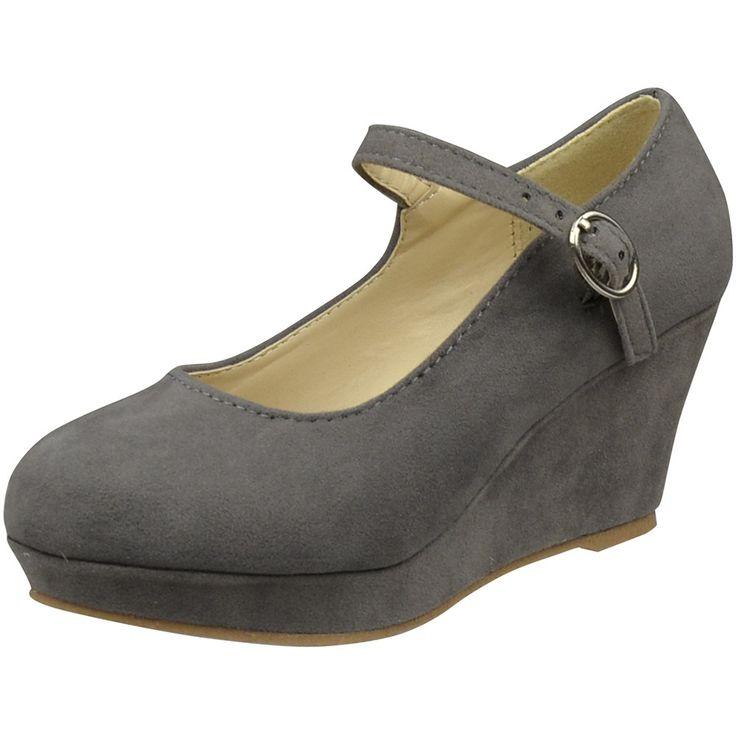 Kids Dress Shoes Ankle Strap Closed Toe Wedge Platform Pumps Gray