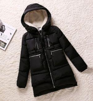 Зимняя женская куртка-пуховик с капюшоном