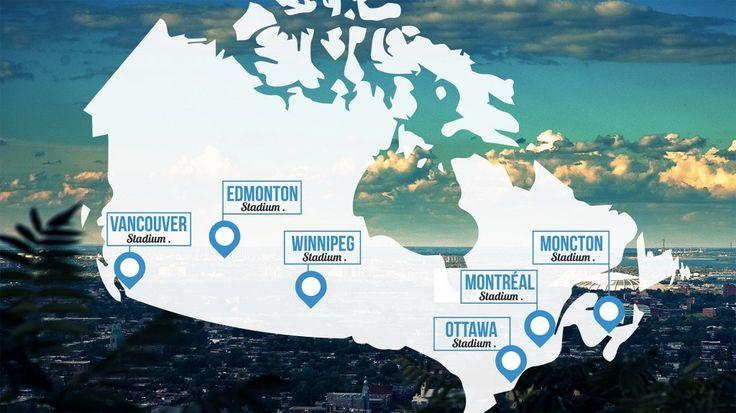 Lieux et emplacement des stades de la Coupe du Monde 2015 au Canada.