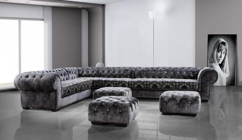 Contempo Chesterfield Fabric Corner Sofa Couches