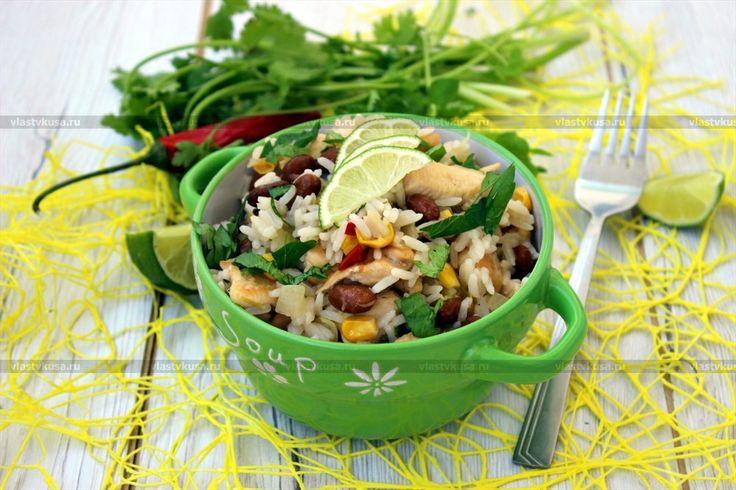 Фото рецепта «Лимонный рис с курицей, кинзой и фасолью»