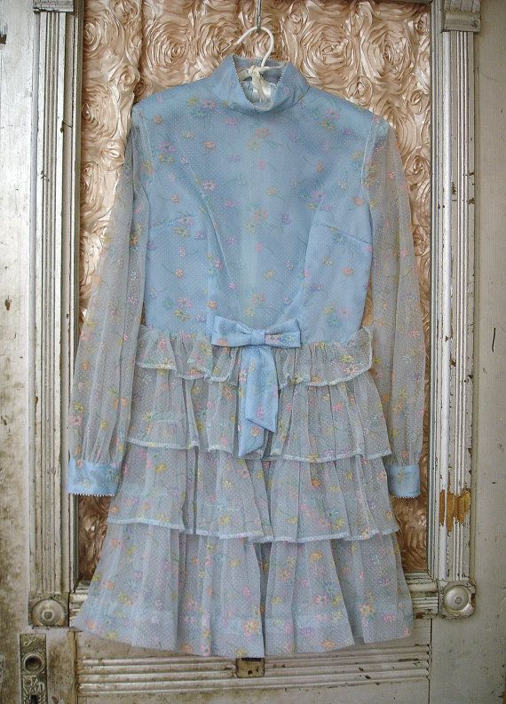 Vintage 1967 Girls Pageant Dress Baby Blue Sheer by MaleOrder