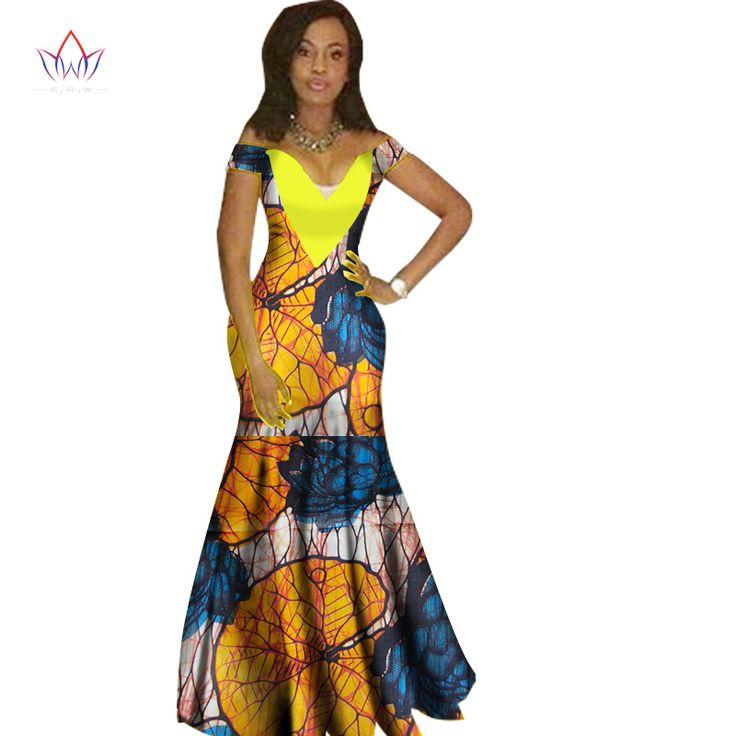 2017 فساتين للنساء موضة تصميم الأفارقة dashiki المرأة بازان الثراء الرقبة فستان طويل dashiki زائد حجم 6xl WY1231 العادية