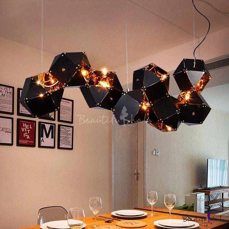 Multi Light LED Chandelier Black and Gold High Bri…