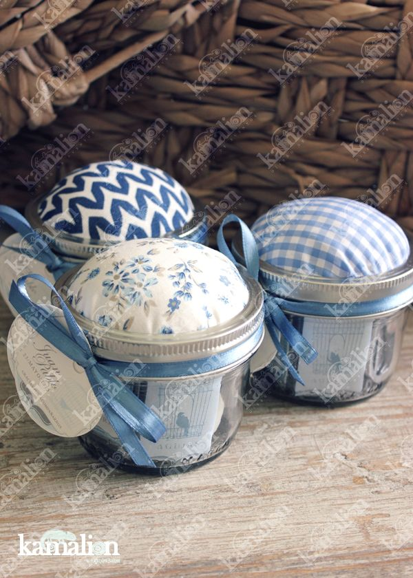 www.kamalion.com.mx - Recuerdos / Giveaways / Detalles Personalizados / Vintage / Bautizo / It's a boy / Azul / Blue / Kit de costura / Mason jar / Sewing kit.