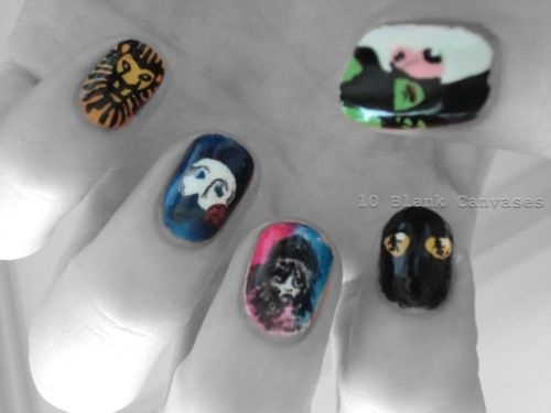 Broadway nails - wicked + les mis+ phantom of the opera + cats = amazing nails that i could never do