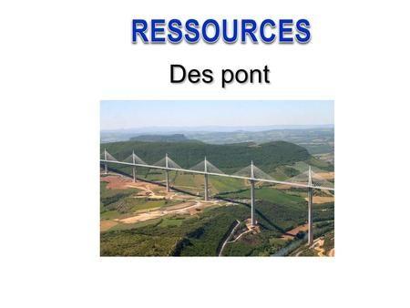Des pont. Sommaire Rappel de définition Terminologie d'un pont Les structures des ponts Quelques exemple de passerelles piétons : Différentes structures.