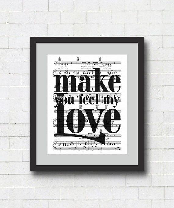 "Make You Feel My Love Art Print - 8x10"" Adele / Bob Dylan Song Lyrics on Sheet Music Wall Art Print"