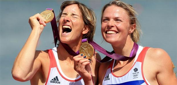 Katherine Grainger and Anna Watkins celebrate gold