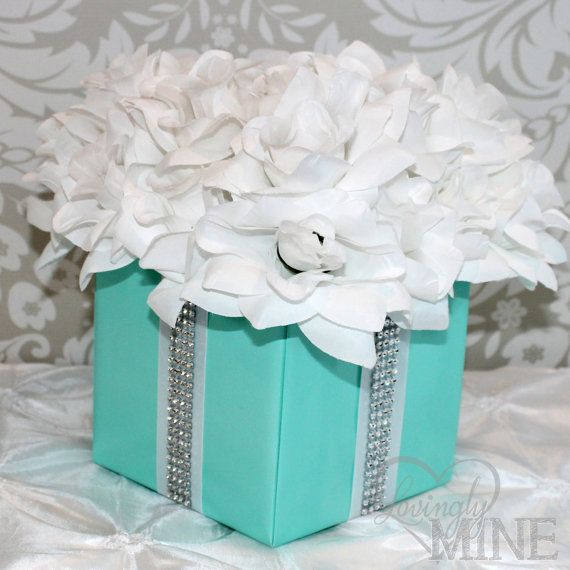 Centerpiece flower box with rhinestone ribbon accents