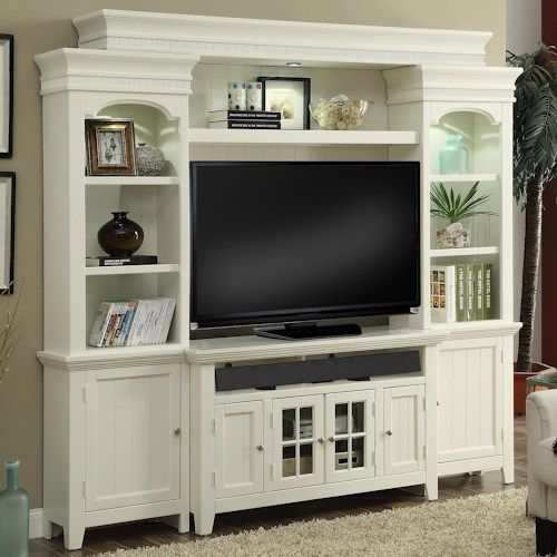 Tidewater 50″ Console Entertainment Wall with Display Lighting and Shelf Storage by Parker House