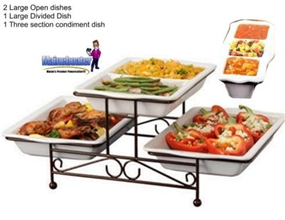 New 3 Tier Catering Ceramic 3 Trays Buffet Server