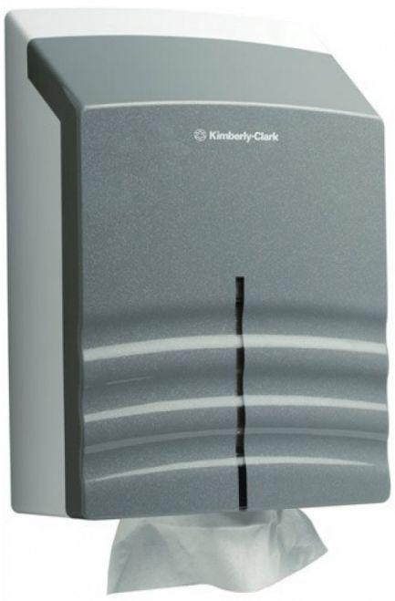 Dispenser prosoape hartie Kimberly-Clark din plastic, alb/gri.