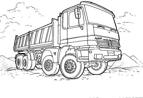 new mercedes dump truck on working site coloring page