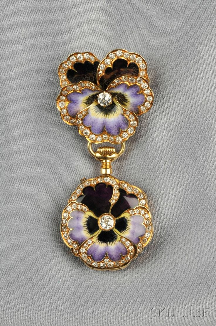 A gold, enamel and diamond pendant watch within an enamel case depicting a pansy; the pansy represents the French word for 'thoughts' and therefore signals 'think of me'.