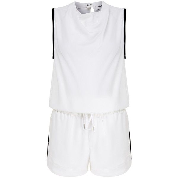 Helmut Lang Torsion Black and White Crepe Playsuit ($255) ❤ liked on Polyvore featuring jumpsuits, rompers, white, black white romper, sleeveless romper, white rompers, white romper and cutout romper