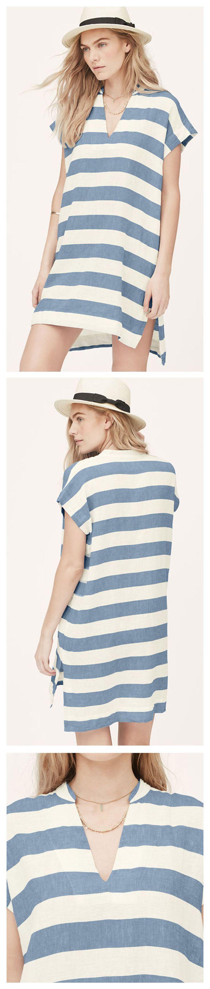 White Blue Short Sleeve V Neck Striped Dress