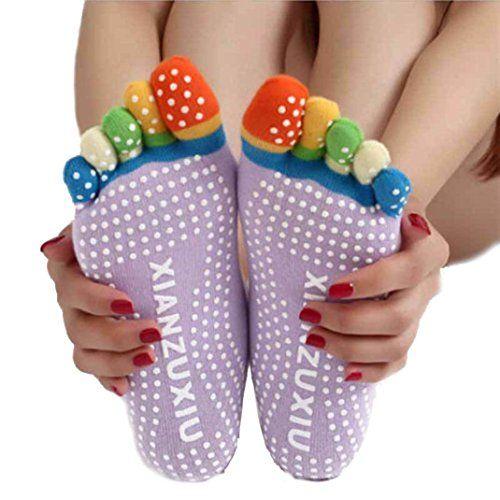 Naylah - Meily Mujeres 5-Toe Gimnasio Yoga colorido Masaje antideslizante Toe Calcetines Grip completa