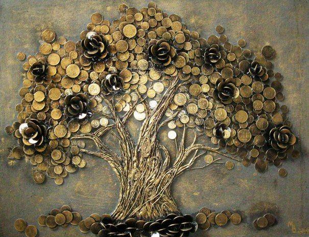 Денежное дерево картина своими руками фото
