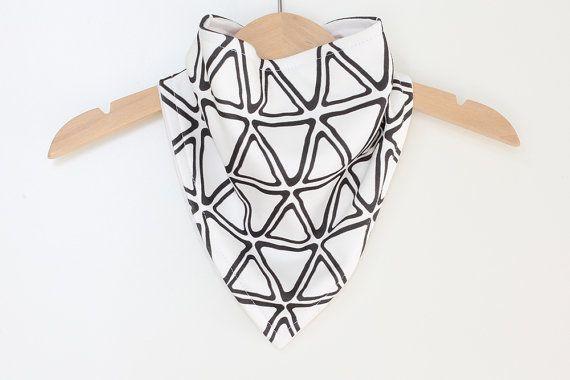 Organic Cotton Baby Bandana Bib  Triangles Black on by raenne, $14.00